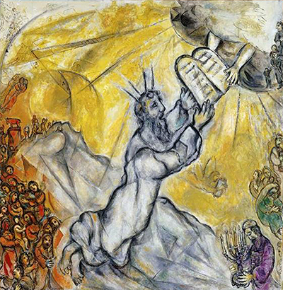 Moses Receiving the Tablets of Law Marc Chagall