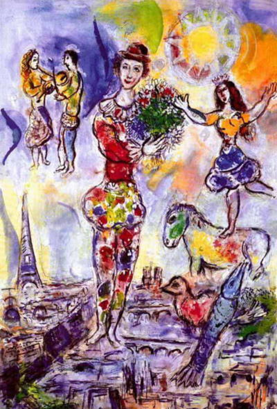 On the Roof of Paris Marc Chagall