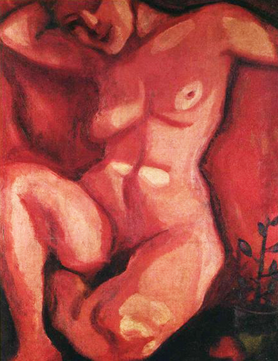 Red Nude Sitting Up Marc Chagall